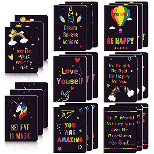 24 Blocs de Notas Inspiradores Cuaderno Diario Lindo Mini Motivacional Cuaderno Pequeño con Forro de Bolsillo Cuaderno Inspirador Positivo para Suministro Escuela 8 Estilos 3,2 x 5 Pulgadas
