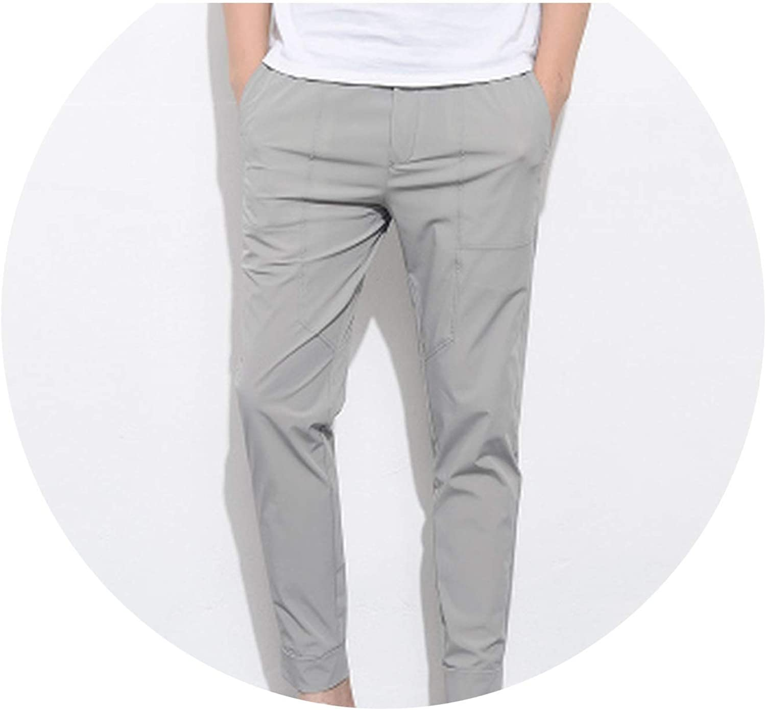 a11212c6ec222f Thin Men Pants Stretch Solid Solid Solid Slim Fit Mens Joggers Harem Pants  Male Trousers d599fb