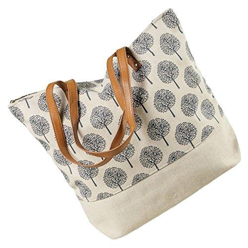 LaFiore24 Shopper Einkaufstasche Damen Umhängetasche Baum Strandtasche Badetasche Reissverschluss (beige)