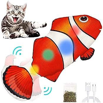 N\\A Jouets pour Chats, Jouet Poisson avec Cataire Poisson Interactif Jouets Chat Electronique Simulation en Mouvement USB Rechargeable avec Herbe à Chat(Clownfish)