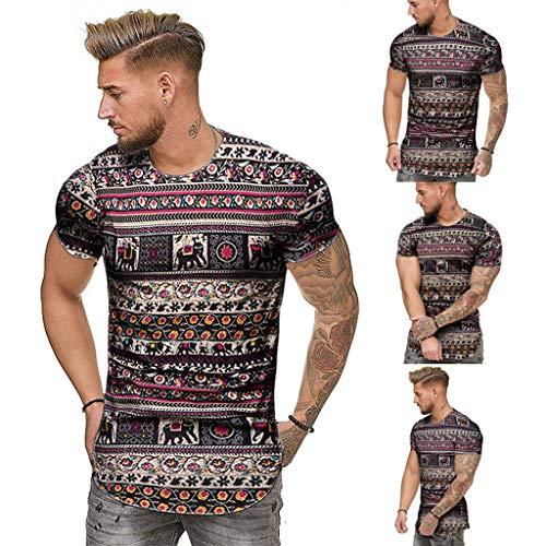 Aiserkly Mode Herren Sommer schlank lässig afrikanischen Print Oansatz Fit Kurzarm Top Bluse Schwarz M