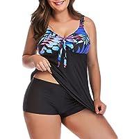 Yomoko Women's Plus Size Two Piece Floral Tankini Set Swimwear