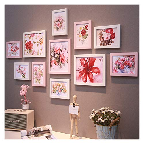 Agnes Bruce Photo Frames Wall Hanging Photo Frame Set For Hallway Bedroom Living Room Wall Decoration Modern Art Home Decor Family Picture Display (Color : Pink)