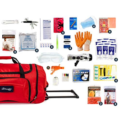Product Image 1: Complete Earthquake Bag – Emergency kit for Earthquakes, Hurricanes, Wildfires, Floods + Other disasters (4 Person, 3 Days)