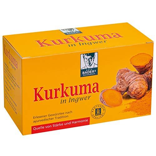 BADERs Kurkuma in Ingwer Tee aus der Apotheke. Erlesener Gewürztee nach ayurvedischer Tradition. 20 Filterbeutel.