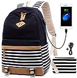 Mochila Escolares Mujer Mochila de Lona Casual Backpack Laptop Mochila para Ordenador Portátil 15.6...