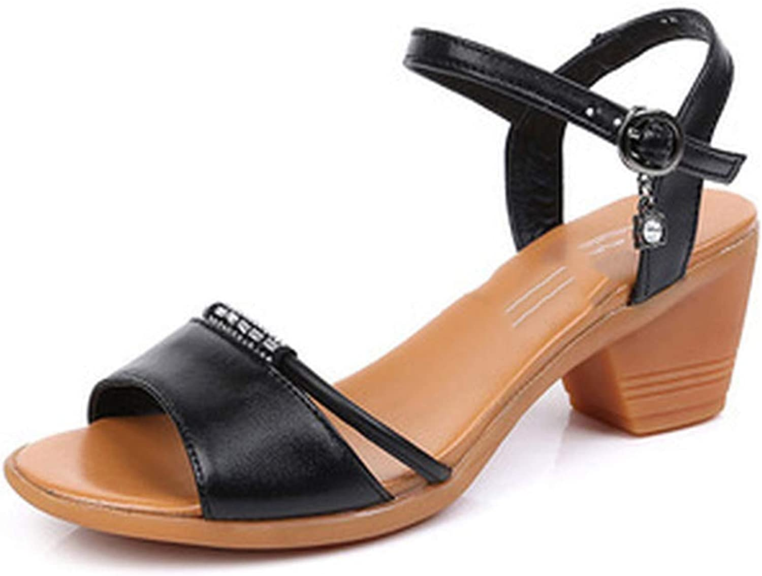 PREtty-2 Genuine Leather Sandals High Heels Buckle Strap Sandals for Women Summer Plus Size 35-42