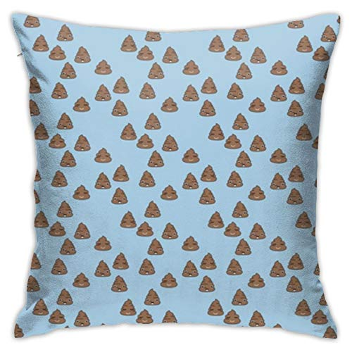 YICHIBAOEL Adorable Kawaii Poop Quirky Dog Poo Emoji Print Blue BoysPillow Cover Cotton Throw Pillow Case Cushion Cover Home Decor Sofa Decorative 18'x 18'Inch