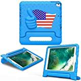 MoKo Case Fit 2018/2017 iPad 9.7 6th/5th Generation/iPad Air/iPad Air 2 - Kids Friendly Shock Proof Convertible Handle Light Weight Protective Stand Cover, Blue with US Flag