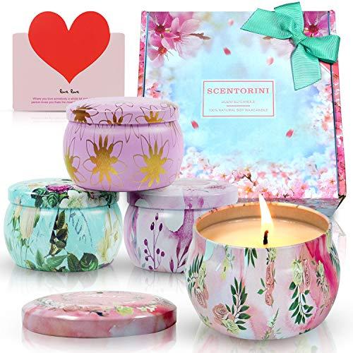 SCENTORINI Bougies Parfumées Coffret Jardin Secret 100% Cire Végétale,120h, Idées Cadeaux pour la St Valentin, la fête des Femmes, la fête des mères, Noël