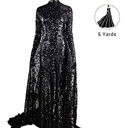 Pattern 1-Black 5 Yards Mesh Tulle Embroidered Fabrics With Sequins