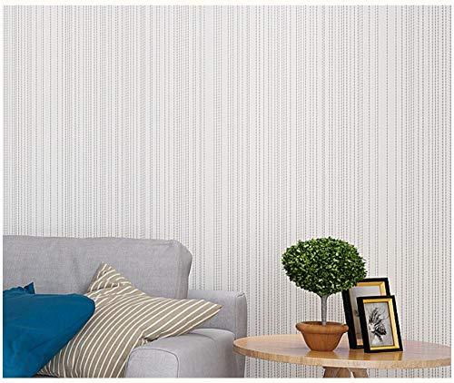 Papel de Pared 3D Rayas de color liso Blanco crema Papel Pintado No Tejido mural para Sala de Estar Habitación Cocina Comedor Fondo de TV 9.8 m x 0,53 m