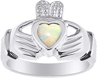 RYLOS CLADDAGH Claddah Love, Loyalty & Friendship Ring Ring with Heart Gemstone in Sterling Silver .925-6MM Color Stone - ...