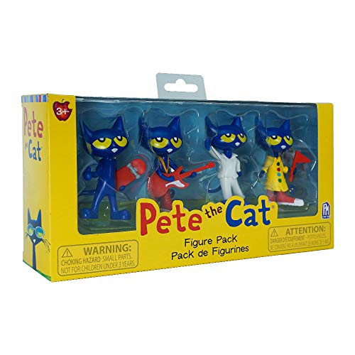 Pete the Cat Rockin Pete, Skater Pete, Groovy Button Pete and Cool Cat Boogie Pete Figure 4-Pack