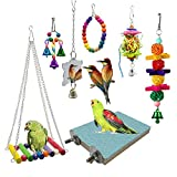 EBaokuup 7 Packs Bird Swing Chewing Toys- Parrot Hammock Bell Toys Suitable for Small Parakeets,...