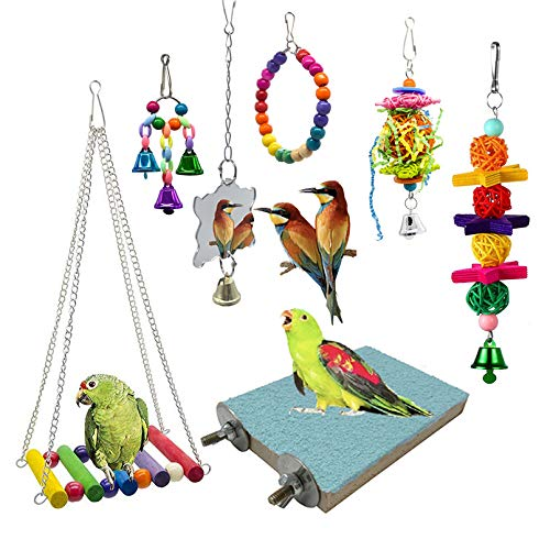 SHANTU 7 Packs Bird Swing Chewing Toys- Parrot Hammock Bell...