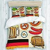 Copripiumino, simbolo dell'Oktoberfest, salsiccia di grano, birra e salatini, set copripiumino colorato con disposizione bavarese, con chiusura a cerniera nascosta, copripiumino dell'appartamento