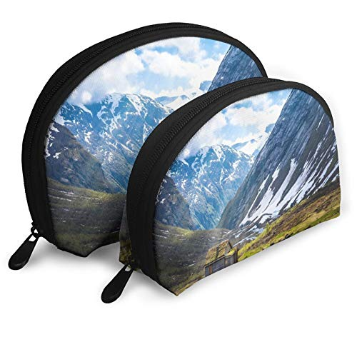 Alone Cabin Clouds Cottage Field Grass Light Mountain Snow Portable Shell Shape Travel Makeup Bag Half Moon Wallet Handbag Purse Wristlet Cosmetic Bags Including 2 Sizes