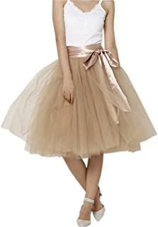 Lisong Women Knee Length Bowknot Layered Tulle Party Prom Skirt