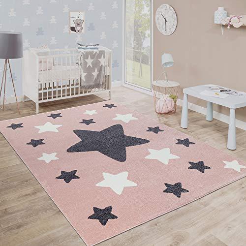 Paco Home Alfombra Habitación Infantil Estrellas Grandes Y Pequeñas En Rosa Y Gris, tamaño:80x150 cm