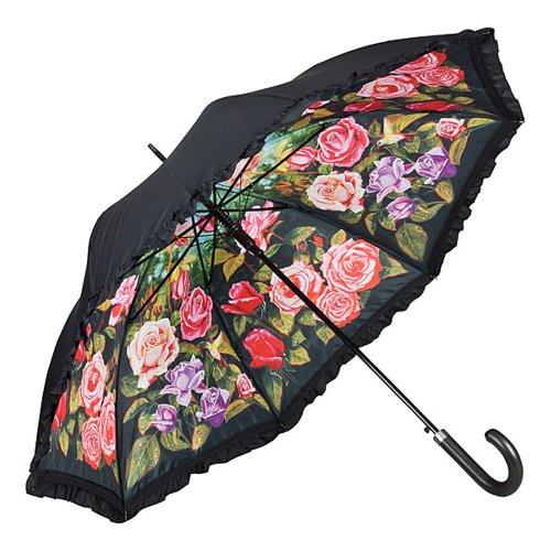 VON LILIENFELD Regenschirm Auf-Automatik Damen Double Layer Blumen Rüsche Rosengarten
