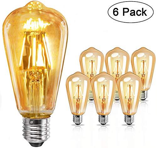 E27 LED vintage glühbirne 4W - Edison Glühbirne E27, Leuchtmittel E27 warmweiß, Retro glühbirne für Zimmer Café Bar Restaurant, 6er Set