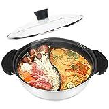 Shabu Shabu Hot Pot with Lid Non-Stick Casserole Induction Cooktop Sided Soup Cookware Shabu Shabu Pot with Divider, 11 Inch, White