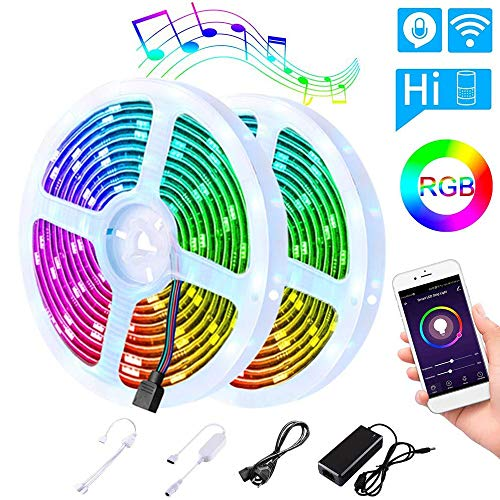 Tira LED WiFi 10M (5m*2), LEDGLE Luces Tira LED SMD 5050 con Temporizador, Multicolor IP65 Impermeable Música Luces LED Kits, Barra de Luz LED con Cinta de Tira RGB para Hogar, Jardín, Navidad