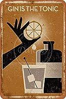 ジンはトニックウォールメタルポスターレトロプラーク警告ブリキサインヴィンテージ鉄絵画装飾レストランゲームルームガレージのための面白いハンギングクラフト