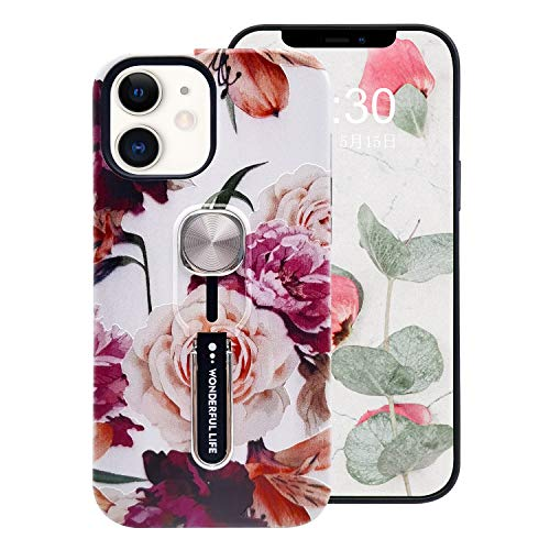 Omio Compatible with iPhone 12 Mini Flower Case Peony Roses Flowers Print Floral Tree Pattern Cover Finger Ring Loop Strap Grip Holder Kickstand Stand Ultra Thin Slim Protective Shockproof Dual Layer