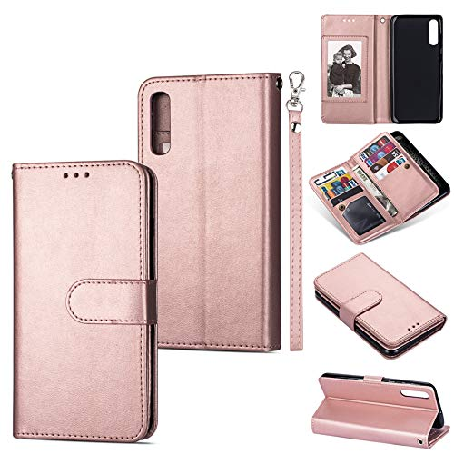 DEFBSC Samsung Galaxy A50 Handyhülle, Magnetisch Premium Leder Flip Schutzhülle mit Kartenfach, Schlanke Brieftasche Hülle Flip Hülle Handytasche Lederhülle für Samsung Galaxy A50 - Roségold