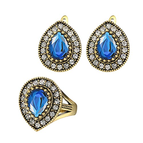 YUANBOO Joyas de la Vendimia Conjuntos de Gota de Agua Anillos de Bodas y Pendientes para Mujeres Chapado en Oro Regalo de Cristal (Main Stone Color : Red, Ring Size : 8)