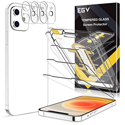 6 Pack EGV 3pcs Screen Protector & 3pcs Camera Lens Protector Compatible with iPhone 12 5G 6.1-inch, 9H Hardness Tempered Glass, Easy Installation Tray, Case Friendly, HD Ultra-Thin