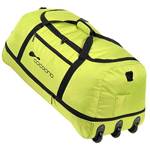 XXL Rollenreisetasche COCOONO 100-135 Liter Volumen Reisetasche faltbar Trolley Koffer Storm Tasche(Lemon Green (Grün))