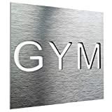 Aluminium Training room sign- Gym Door sign- fitness wall art plaque- Gym door sticker - informative sign for yoga- Training business signage- modern gym decor- home gym - workout decal (Silver)