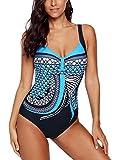 Aleumdr Badeanzug Damen Push up bademode bauchweg figurformend Bandeau große Größen Rückfrei S-XXL, Blau, XX-Large (EU46-EU48)