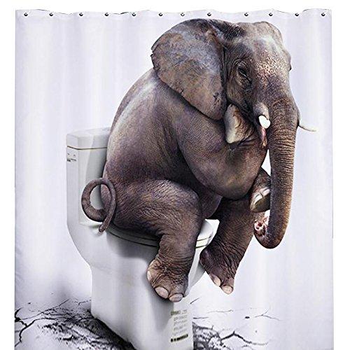 Blanc Rideau de Douche Eléphant Imperméable Anti-Moisissure Etanche en Polyester Rideau de Salle de Bains avec 12 Anneaux Crochets 180 * 200cm
