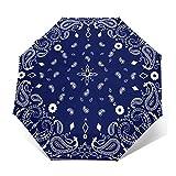 Paraguas Plegable Automático Impermeable Bufanda Azul, Paraguas De Viaje Compacto a Prueba De Viento, Folding Umbrella, Dosel Reforzado, Mango Ergonómico