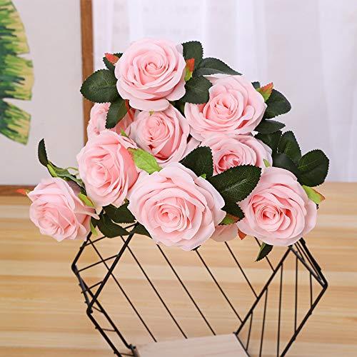 Jun7L Unechte Blumen,Künstliche Deko Blumen Gefälschte Blumen Seidenrosen Plastik 10 Köpfe Braut Hochzeitsblumenstrauß für Haus Garten Party Blumenschmuck Pink D 50X8CM