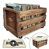 Cajón de Almacenamiento de Registro de LP de madera en Ruedas para hasta 100 álbumes, por Retro...