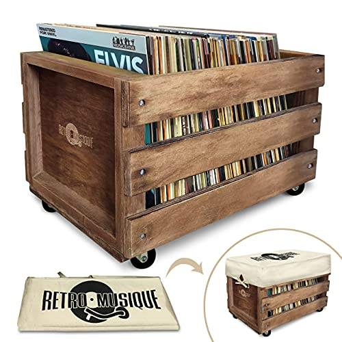 Wooden LP Record Vinyl Storage Crate on Wheels for up to 100 albums, by Retro Musique