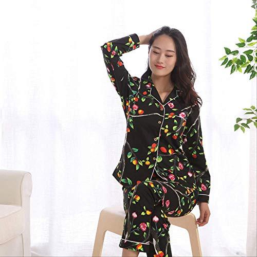 XFLOWR Homeware Spring Casual Pijamas de Manga Larga de algodón 100% para Mujeres Conjunto de Pijama de impresión Pijama de Mujer Japonesa Pantalones de Mujer Pijama L Negro