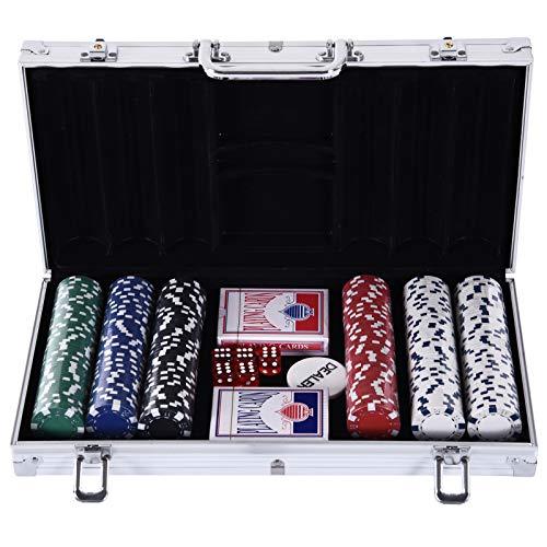 HOMCOM Pokerkoffer Pokerset 300 Pokerchips 2 x Kartenspiel 5 x Würfel 1 x Alukoffer 5 Farben 38 x 20,5 x 6,5 cm 11,5 g/Chip aus Kunststoff