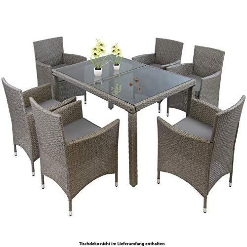 Montafox 13-teilige Polyrattan Essgruppe 6 Personen Tisch Stühle Auflagen Bezüge Sitzgruppe Terasse Esszimmer, Farbe:Kieselstrand
