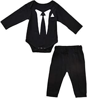 Newborn Baby Boy's-Blazer-Tuxedo-Suits-Clothes 2pcs Long Sleeve Cotton Bodysuit and Pants Tie Gentleman Outfits Set
