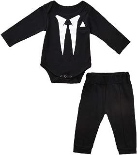 Fioukiay Newborn Baby Boy's-Blazer-Tuxedo-Suits-Clothes 2pcs Long Sleeve Cotton Bodysuit and Pants Tie Gentleman Outfits Set