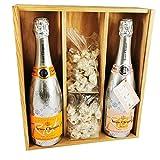 Veuve Clicquot Champagne Mix - Rich Rosé/Rich Brut & 2 * 150 gramos Nougadets de avellana - Jonquier Deux Frères - En caja de madera