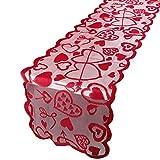 BHGT 33 * 183cm Runner Tavola Cuore Rosso Decorazione per Cene Banchetti Matrimonio Festa della Mamma Natale (B)