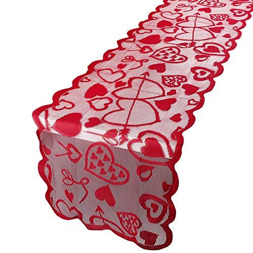 Camino de Mesa San Valentín 183 x 33cm Tela Decoración Boda Comedor de Mesa Tapete Adorno Corazón Rojo