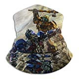 ZNABHNG Bumblebee Vs Optimus Prime Transformers - Scaldacollo in microfibra per uomo e donna, con copertura elastica per il viso, mezza copertura e sciarpa, versatile a bandana, copricapo nero